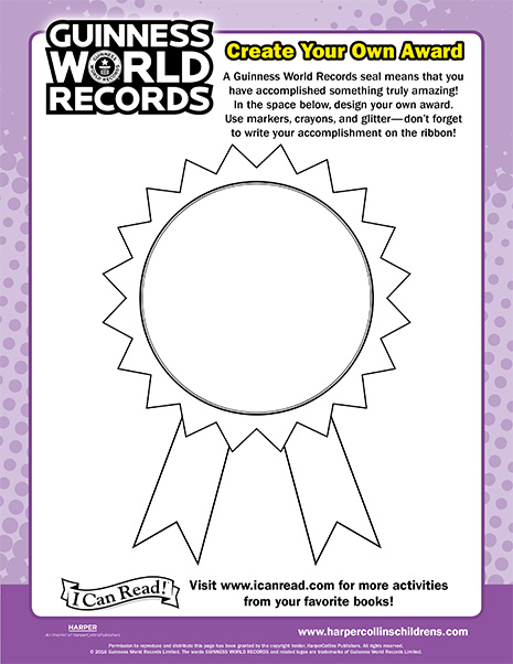 design your own award  Guinness World Records: Create Your Own Award | Printable ...