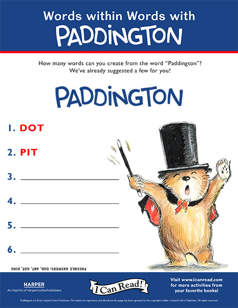 Words within Words with Paddington