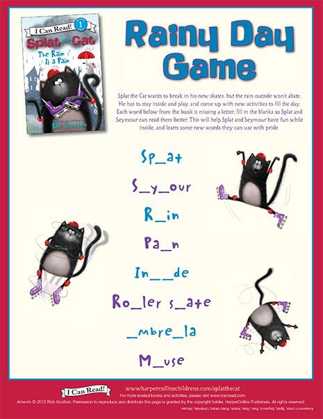 Splat the cat rainy day game printable activities icanread splat the cat rainy day game maxwellsz