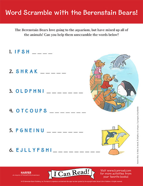 Word Scramble with the Berenstain Bears