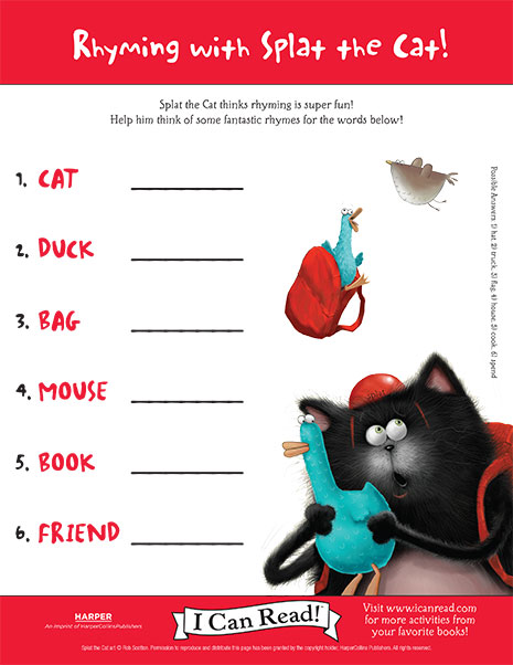 Rhyming with splat the cat printable activities icanread rhyming with splat the cat maxwellsz